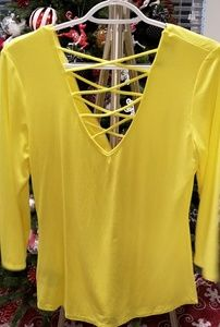 BEBE Yellow Zipper Front Criss Cross Back Blouse